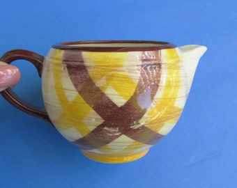 1940s-50s Vernonware yellow / brown creamer or small gravy / syrup pitcher / Gingham / Organdie