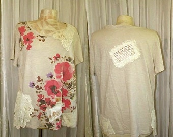 Shabby Refashioned Top, cottage shabby n chic shirt, eco friendly altered upcycled womens clothing LARGE