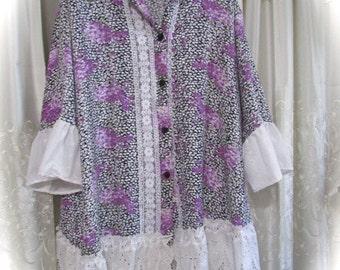 Romantic Purple Blouse,  silk, lilac florals lavendar purple top , shabby eyelet lace trim, refashioned altered womens LARGE 3X plus size