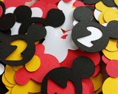 Disney MIckey Mouse Confetti:  200 Disney Mickey Mouse Custom Confetti Pieces, Scrapbooking, 2nd Birthday, Table Decor