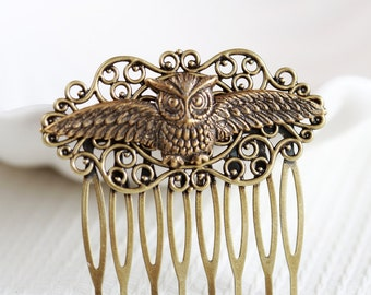 Owl Comb, Brass Hair Comb, Wedding Bridal Hair Comb.Flowers Collage Hair Comb, Bridal Bridesmaid Comb,Summer,Gift for her