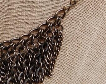 Vintage Bronze Fringe Chain Necklace