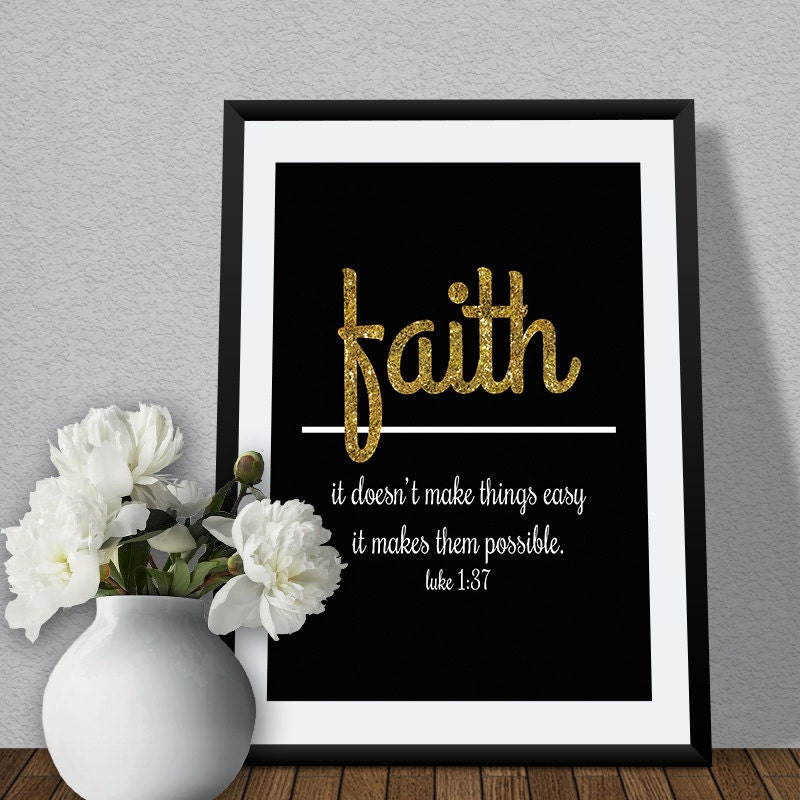 Wall Decor With Bible Verses : Religious wall art quote on faith bible verse for home