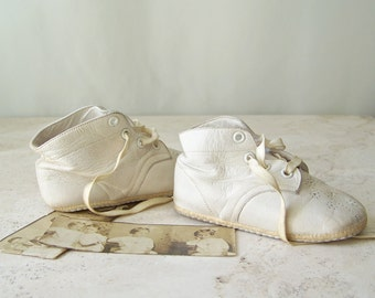 Vintage Baby Shoes White Leather Photo Prop Baby Shower Nursery Decor Vintage 1940s