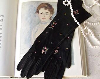 Vintage Black Gloves Ladies Long Black Suede Gloves Paris Petit Point Embroidery Soft Suede Size 6 1/2 By Freddy of Paris Vintage 1950s