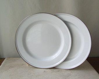 Vintage Enamelware White Plates Enamelware Chrome Trim Shabby Cottage Camping Dishes 1980s