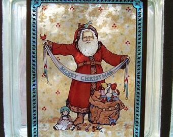 Vintage Santa Sun Catcher Glass Pane Merry Christmas 1987 Hanging Light Catcher Holiday Decor