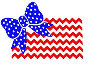 Polka Dot Bow with Chevron American Flag  Silhouette or SVG Instant Download