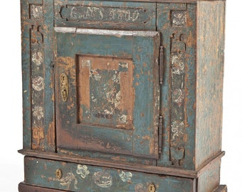 Antique Dated 1809 Primitive Chippy Blue Shabby Chic Painted Carved Danish Hanging Cupboard Cabinet pennsylvania dutch