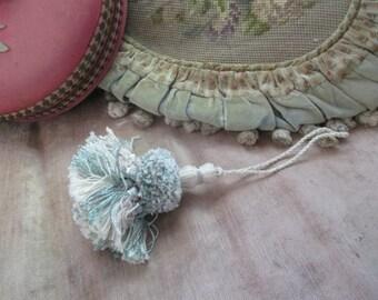Vintage Key Tassel Passementerie Shabby Chic Pastel Blue Lavender K9