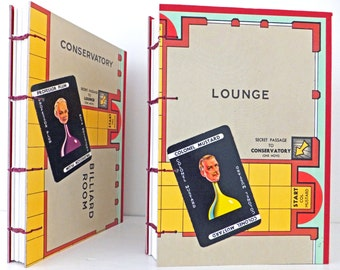 Hand-sewn journal, Cluedo Journal, Cluedo Notebook, Sketchbook, gameboard notebook, large journal