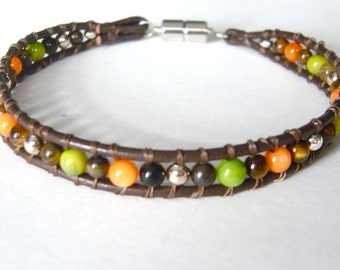 Mens Brown Leather Bracelet, Leather Wrap Bracelet, Tiger Eye Jewelry, Orange and Green Shell Beads, Boyfriend Gift 8.5 inch, Magnetic Clasp