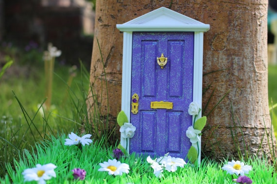 Purple magical fairy door with pretty climbing flowers and for Purple fairy door