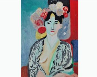 Tribute to Matisse Large Print-Colourful Female portrait Giclee print-Flowers wall decor-Impressionist woman portrait print-Modern wall art
