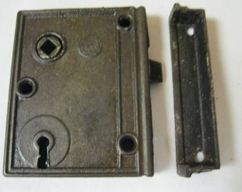 Antique Home Improvement Old House Restoration PENN Cast Iron 1800's Door Lock-Rim Lock-Box Lock Set Reclaimed and Restored to Working Order