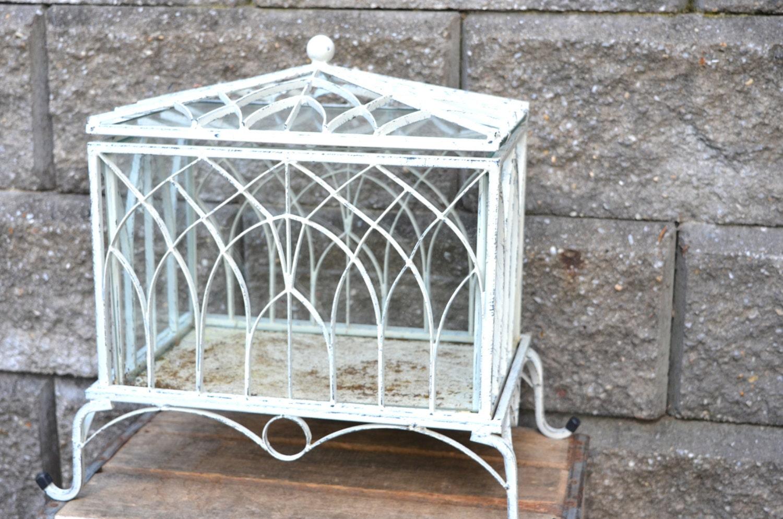 Vintage Rustic Garden Terrarium Mini Greenhouse French White