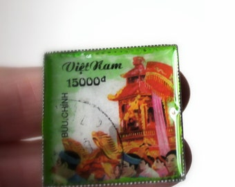 Vietnam stamp ring- statement ring- square picture ring- photography jewelry- mrs post-bring me love letters -green pink ring-exotic design