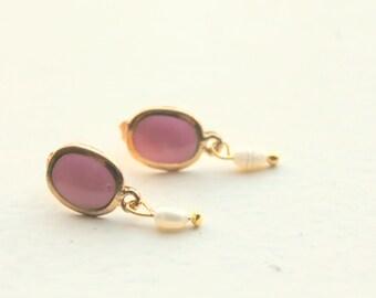 pink delicate earrings
