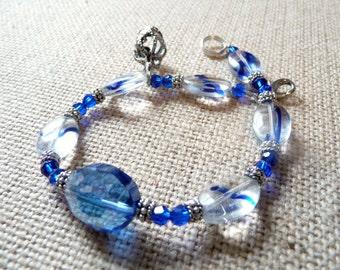 Blue Crystal And Princess Crown Bracelet, 8 Inch Bracelet, L or XL Bracelet, Crown Jewelry, Blue Bracelet, Glass Beaded Bracelet, OOAK Gift