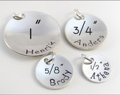 Personalized Disc Pendant in Sizes 1/2 Inch, 5/8 Inch, 3/4 Inch, & 1 Inch | Silver, Copper, or Gold Pendant Add On