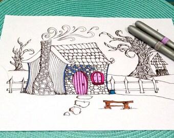 Fairytale Cottage Coloring Page Zentangle Kids Adult Doodle Design Printable Instant Download Activity