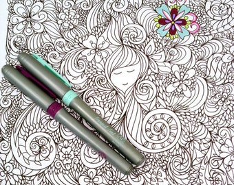 Adult Coloring Page Girl and Swirls Doodle Design Zentangle Printable Fantasy Drawing Kids Art Activity