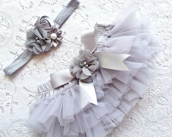 Grey All around Chiffon ruffle Baby bloomer tutu and headband, diaper cover Newborn, infant, toddler 0-18 months