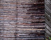 Large Handwoven rag rug - 6.65' x 5.9'- dark brown, beige, light grey. Ready for sale