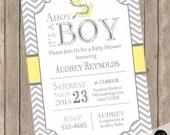 Chevron Ahoy it's a boy baby shower invitation, yellow and gray baby shower invitation, nautical baby shower invitation, anchor, nautical