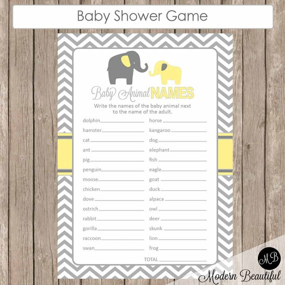 Baby Shower Game Name The Baby Animal: Yellow And Gray Baby Animal Name Game Elephant Animal Name