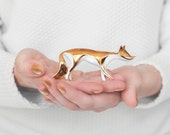 Gold Fox porcelain figurine - Ceramic Porcelain figurine sculpture white bone china porcelain real gold