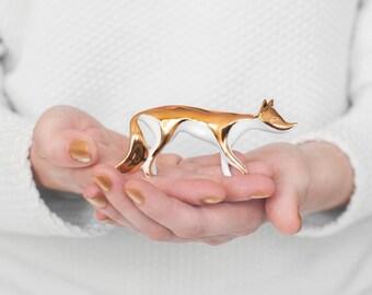 Gold Fox porcelain figurine - Ceramic Porcelain figurine sculpture white bone china porcelain real gold
