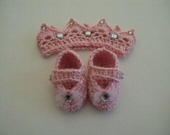 Hand Crochet Baby Girl Tiara & MaryJane Set ~ Pink