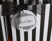 black and white striped party favor bags