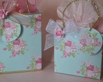 Pink rose, country chic, Party favor bags