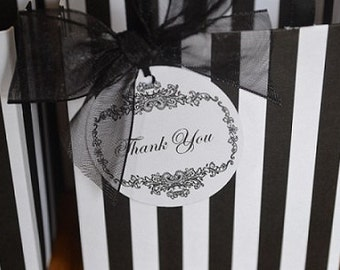 Paris black and white striped party favor bags