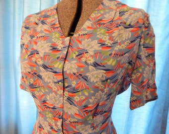 1940's Cold Rayon Water Lilly Blouse