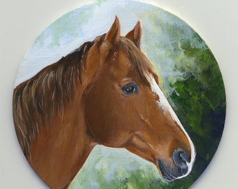 Custom Painted Ornament in Acrylic, Pet Portraits, horse, Dog, Cat. Miniature Portrait on Ornament. 10% donation to Animal Rescue!