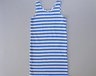 Vintage 1980s Striped Tank Dress. 80s Eighties Breton Striped Dress. Size Small Medium