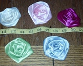 Lot of 100 Medium Rolled Roses Satin Flowers mix or match - Floral decor, sewing projects, weddings, birthdays, DIY, Hair Accessories