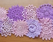 10 Purples and Pinks Hand Dyed Crochet Doilies