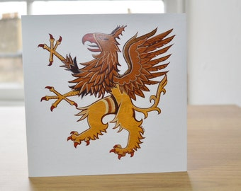 Griffin animal greetings card griffin printed card