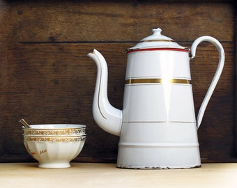 Circa 1900,Very Large French antique white enamel coffee pot and goldy, antique french enamelware