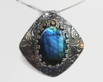 Labradorite Sterling Silver Pendant, Blue Labradorite Pendant, Sterling Silver Pendant, Labradorite Necklace, Eco Friendly Silver