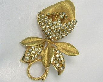 Vintage Hobe Rhinestone Flower Brooch Clear Glass Pave Set Brushed Gold Tone 1965