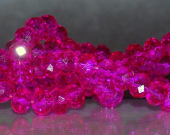 25 pcs 8x6mm Transparent Hot Pink Fuchsia Rondelle Glass Beads