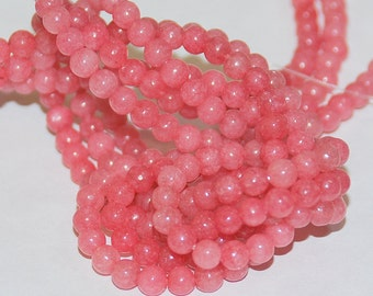 Half Strand 4mm Rose Pink Color Round Agate Gemstone Beads - 45 beads