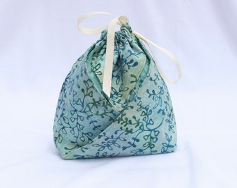 Origami Gift Bag - Dusty Blue Gray Batik