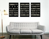 Tampa Florida, Tampa Bay, Living Room Decor, Typography, Poster, Home Decor, Subway Sign, Gifts for Him, Subway Art, Posters, Subway Signs