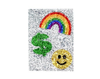 Handmade Silver Glitter Fabric Rainbow Smiley Face Love Heart Dollar Peace Sign Vacation Passport Case Cover Wallet Holder Birthday Gift